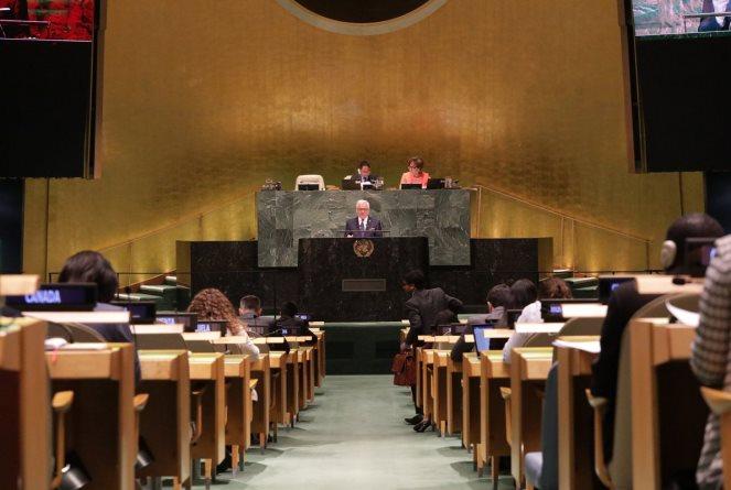 Міністр закордонних справ Польщі Яцек Чапутович під час свого виступу в Генеральній Асамблеї ООН