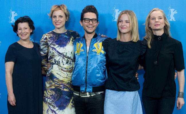 Director Tomasz Wasilewski (C) and actors Dorota Kolak, Julia Kijowska, Marta Nieradkiewicz and Magdalena Cielecka at the 66th annual Berlin International Film Festival, in Berlin, Germany, 19 February 2016. EPA/KAY NIETFELD