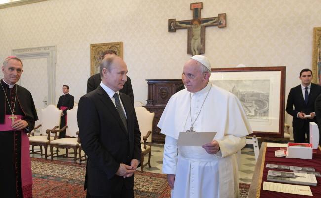 Владімір Путін і папа римський Франциск. Ватикан, 4 липня 2019.