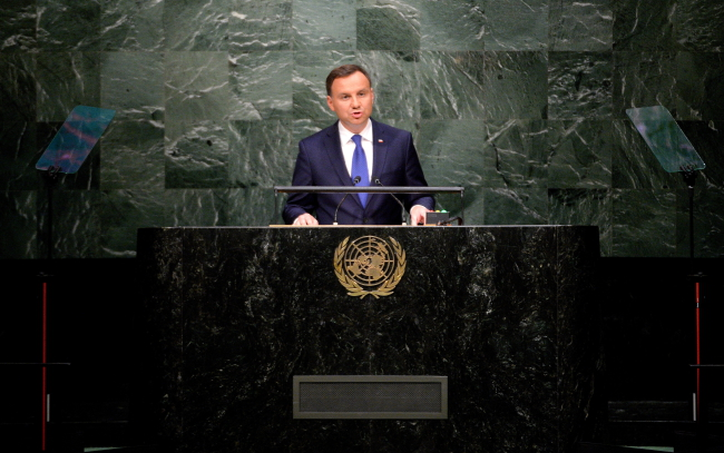President of Poland Andrzej Duda delivers his address during the United Nations Sustainable Development Summit, prior to the start of the 70th session General Debate of the United Nations General Assembly at the UN's headquarters in New York. PAP/Jacek Turczyk