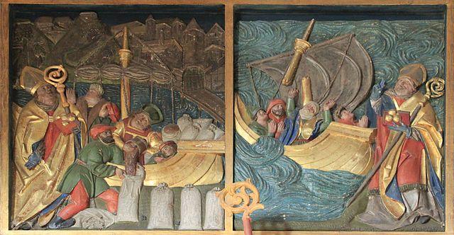 Сцэны з легенды пра маракоў і збожа ў порце. Рэльеф з  XVI ст., касьцёл сьв. Мікалая ў аўстрыйскім Лізінгу.