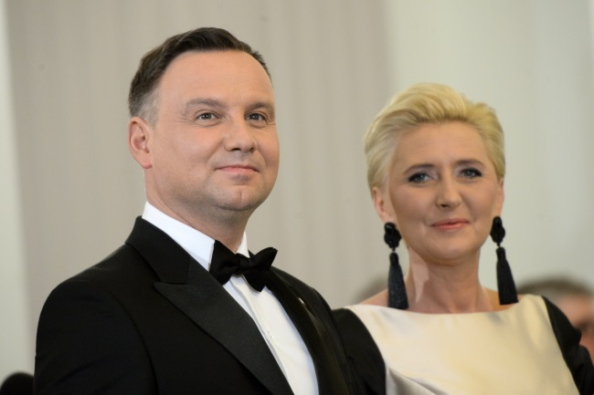 Polish President Andrzej Duda and First Lady Agata Kornhauser-Duda during a New Year's meeting with foreign ambassadors in Warsaw on Thursday. Photo: PAP/Jacek Turczyk