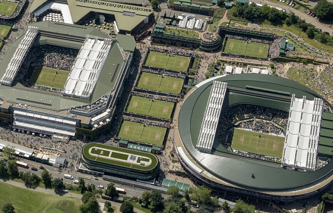 The All England Lawn Tennis Club grounds in Wimbledon, London.