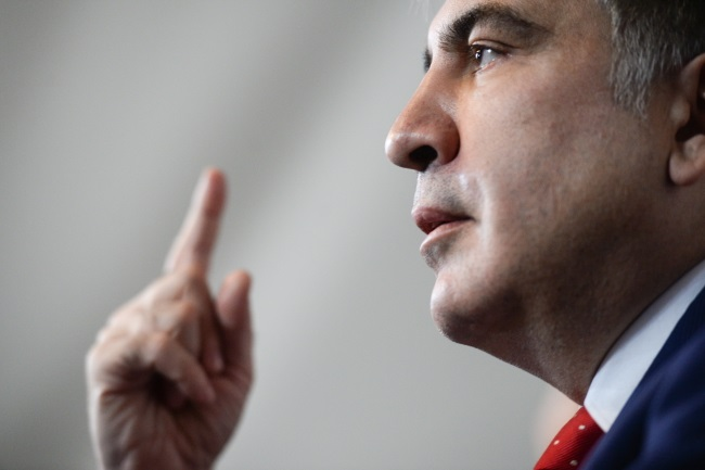 Mikheil Saakashvili at a news conference in Warsaw on Tuesday. Photo: PAP/Jacek Turczyk