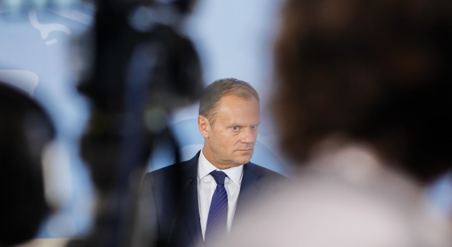 Donald Tusk during negotiations this weekend. Photo: PAP