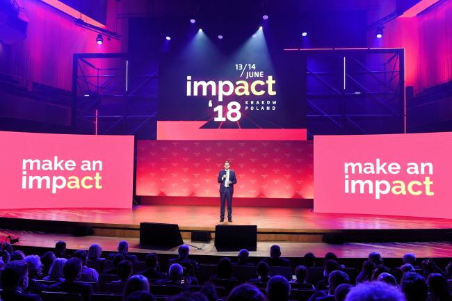 Премьер Польши Матеуш Моравецкий выступает на открытии Конгресса Impact'18 в Кракове.