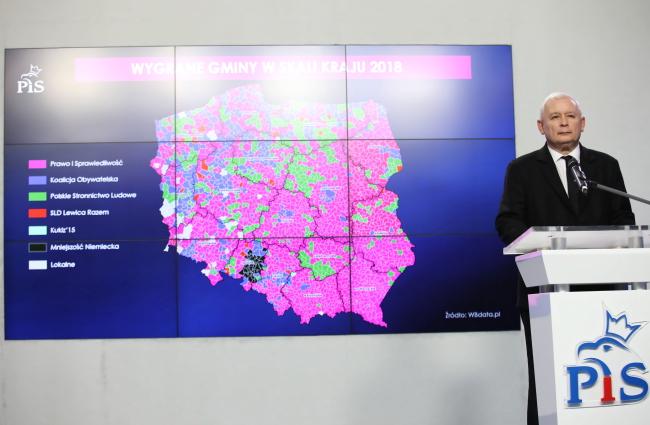 Варшава, 6 ноября 2018 г. Председатель партии «Право и справедливость» Ярослав Качиньский на пресс-конференции по результатам выборов в местные самоуправления