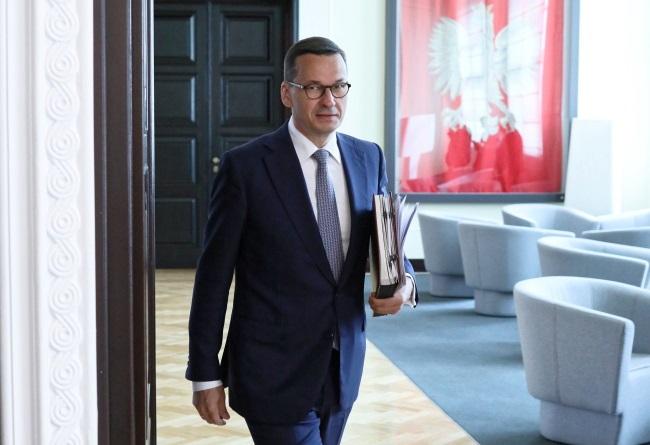 Polish Prime Minister Mateusz Morawiecki ahead of a Cabinet meeting in Warsaw on Tuesday. Photo: PAP/Leszek Szymański