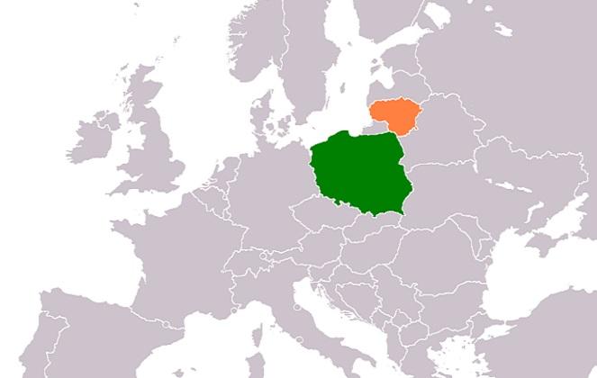 Польша и Литва на карте Европы