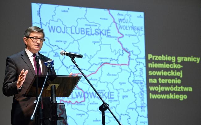 Спикер Сейма Марек Кухциньский на научной конференции «Поляки на востоке» в Пшемысле.