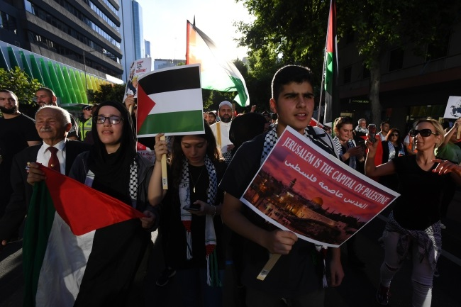 A rally by pro-Palestinian protesters in Melbourne, Australia, on Wednesday against US President Donald Trump's recent recognition of Jerusalem as the capital of Israel. Photo: EPA/JAMES ROSS
