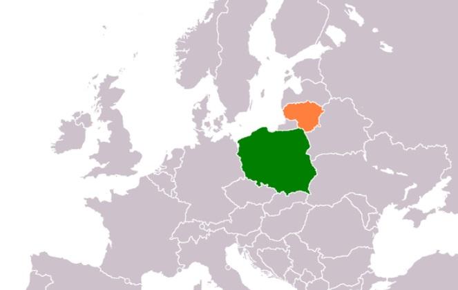 Польща і Литва на мапі
