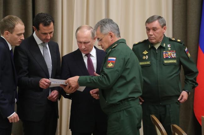 Президент РФ Владимир Путин в Сочи во время встречи с президентом Сирии Башаром Аль-Асадом.