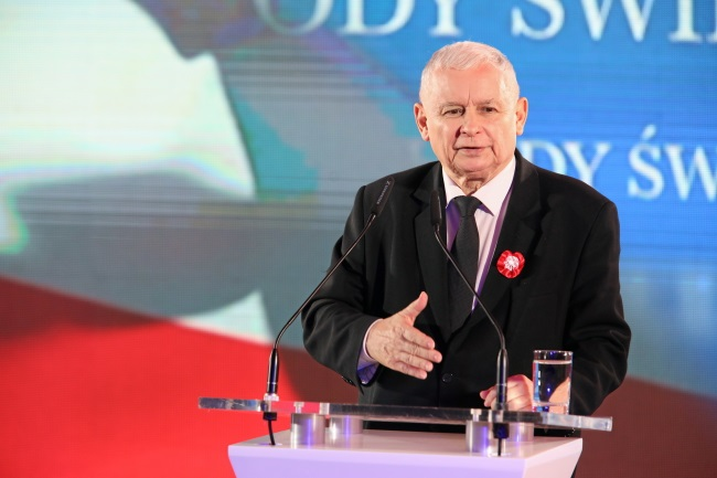 Law and Justice (PiS) party leader Jarosław Kaczyński pictured speaking at a patriotic event in the southern city of Kraków on Poland's Independence Day. Photo: PAP/Stanisław Rozpędzik