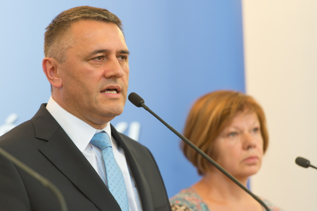 Provincial Governor of Lower Silesia Tomasz Smolarz speaks at a press conference in Wrocław. Photo: PAP/ Maciej Kulcyński