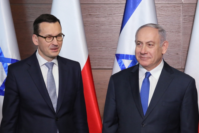 Warsaw, February 14, 2019. Benjamin Netanjahu (R) with Polish PM  Mateusz Morawiecki (L) during the Middle East conference.