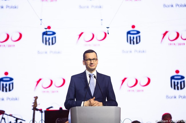 Prime Minister Mateusz Morawiecki speaks as Bank PKO BP celebrates its centennial in Warsaw on Thursday. Photo: Adam Guz/KPRM