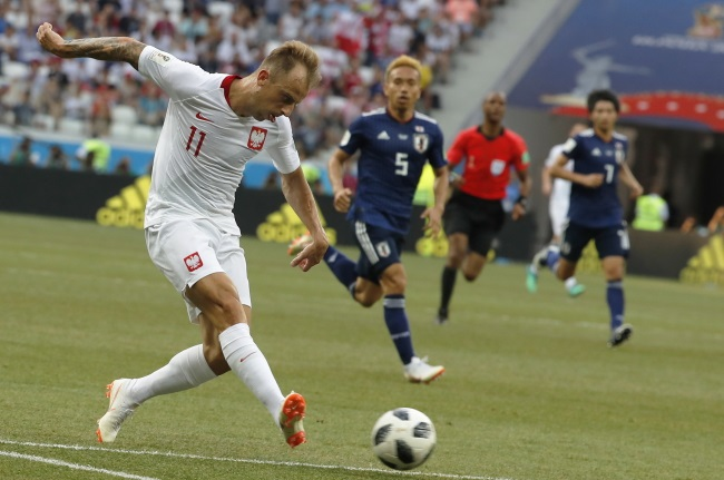 Poland's Kamil Grosicki in action during the match against Japan in Volgograd on Thursday. Photo: EPA/SERGEI ILNITSKY