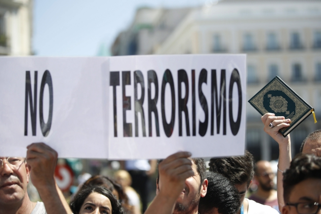 A placard carried during a demonstration in Barcelona reads 'No Terrorism'. Photo: EPA/JUAN CARLOS HIDALGO.