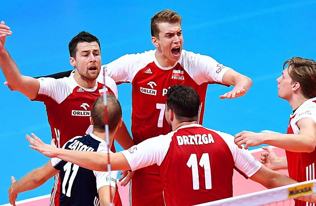 Poland celebrate during the FIVB Volleyball Men's World Championship final. Photo: EPA/ALESSANDRO DI MARCO