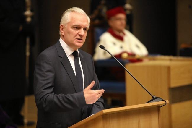Deputy PM Jarosław Gowin speaks at the Jagiellonian University on Sunday. Photo: PAP/Stanisław Rozpędzik