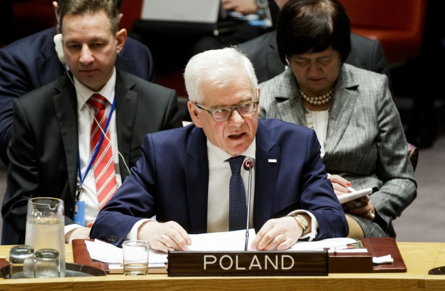 Polish Foreign Minister Jacek Czaputowicz speaks during an United Nations Security Council meeting about international peace and security at United Nations headquarters in New York. Photo: EPA/JUSTIN LANE