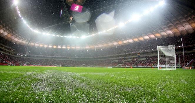 Zalany Stadion Narodowy w Warszawie
