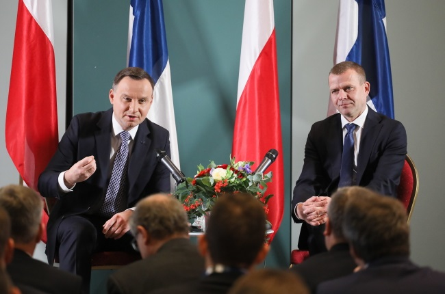 Polish President Andrzej Duda (left) and Finland's Finance Minister Petteri Orpo during a business forum in Helsinki on Wednesday. Photo: PAP/Paweł Supernak
