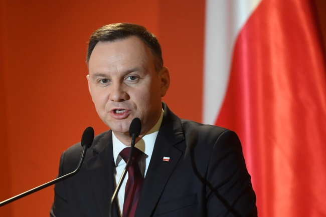 President Andrzej Duda speaks at the business conference in Athens on Tuesday. Photo: PAP/Bartłomiej Zborowski