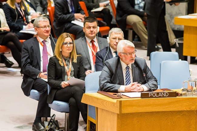 Minister Waszczykowski (front) addressed a UN Security Council at an open debate in New York. Photo: MSZ