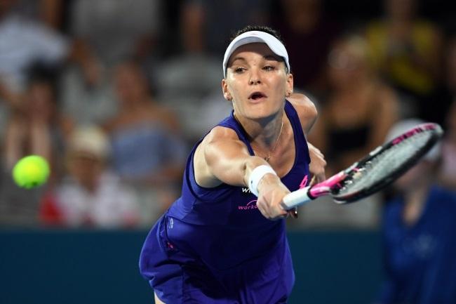Agnieszka Radwańska in action against Duan Yingying in Sydney. Photo: EPA/PAUL MILLER