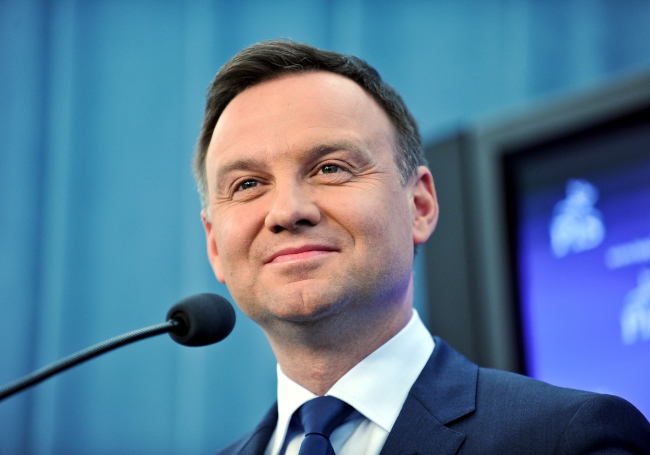 Law and Justice presidential hopeful Andrzej Duda gives a press conference at the Sejm lower parliamentary house on 16.02.2015 Photo: PAP/Marcin Obara