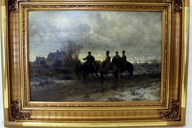 """The """"Polish Patrol of 1830"""" painting had been missing since WWII. Photo: Policja.pl"""
