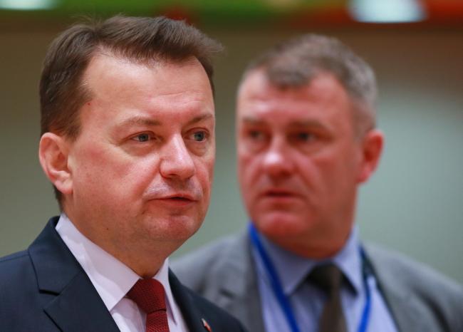 Polish Defence Minister Mariusz Błaszczak (left). Photo: EPA/STEPHANIE LECOCQ
