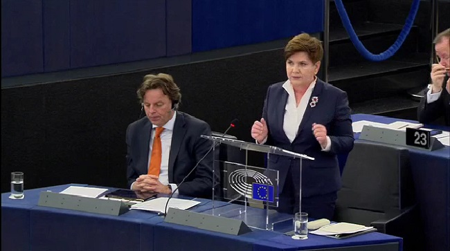 Polish PM Beata Szydło in the EP on Tuesday. Photo: Screenshot/EP