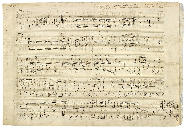 Autographed score by the Polish composer Frédéric Chopin of his Polonaise Op. 53 in A flat major for piano, 1842. Image: [Public domain], via Wikimedia Commons