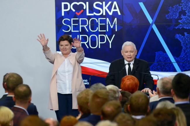 Beata Szydło, left, pictured with PiS leader Jarosław Kaczyński