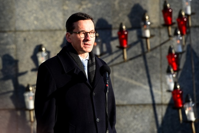 Polish PM Mateusz Morawiecki speaks during remembrance ceremonies in the northwestern city of Szczecin on Sunday. Photo: PAP/Marcin Bielecki