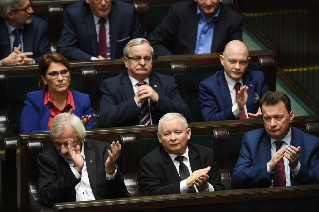 Polish conservative MPs led by Jarosław Kaczyński (centre), head of the ruling Law and Justice (PiS) party, in the lower house of parliament on Friday. Photo: PAP/Radek Pietruszka