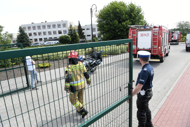 Emergency services at the school in Brześć Kujawski, central Poland.
