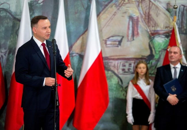 Президент Польши Анджей Дуда на встрече с жителями Крапковице.