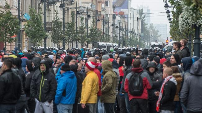 Widzew fans in Łódź city centre. Photo: PAP/Grzegorz Michałowski