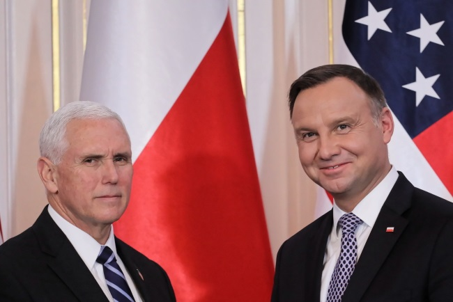 US Vice President Mike Pence and Polish President Andrzej Duda during a joint news conference in Warsaw on Wednesday. Photo: PAP/Paweł Supernak