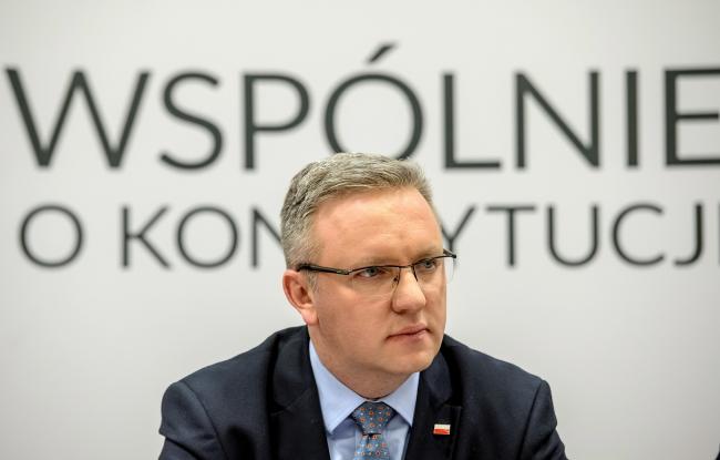 Президентский министр Кшиштоф Щерский на встрече с общественностью в Люблине.