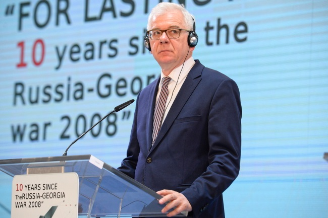Polish Foreign Minister Jacek Czaputowicz during a press conference in the Georgian capital Tbilisi on Tuesday. Photo: PAP/Jacek Turczyk