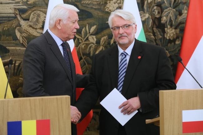 Teodor Meleșcanu and Witold Waszczykowski. Photo: PAP/Leszek Szymański.