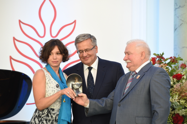 From left: Zhanna Nemtsova, President Bronisław Komorowski, former president Lech Wałęsa. Photo: PAP/Jacek Turczyk