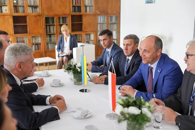 Spotkanie marszałka Stanisława Karczewskiego z Andrijem Parubijem, przewodniczącym Rady Najwyższej Ukrainy