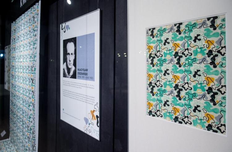 Фрагмент выставки платяных тканей Владислава Стшеминьского в Центральном музее текстиля в Лодзи.