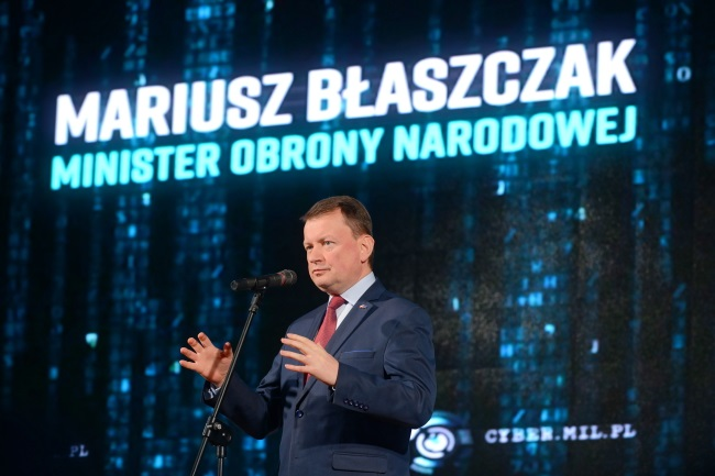 Defence Minister Mariusz Błaszczak speaks at the Cyber.mil.pl conference in Warsaw on Tuesday. Photo: PAP/Jakub Kamiński